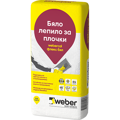 Бяло еластично лепило за плочки webercol флекс бял F608 , 25 кг.