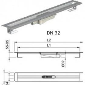 Душ-канал от неръждаема стомана с хоризонтални фланци, DN 32 , 90 см.