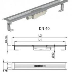 Душ-канал от неръждаема стомана с хоризонтални фланци, DN 40 , 90 см.