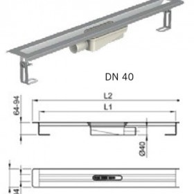 Душ-канал от неръждаема стомана с хоризонтални фланци, DN 40 , 100 см.