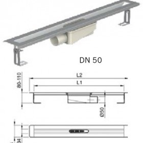 Душ-канал от неръждаема стомана с хоризонтални фланци, DN 50 , 70 см.