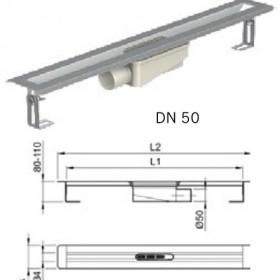 Душ-канал от неръждаема стомана с хоризонтални фланци, DN 50 , 90 см.