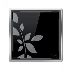 Kвадратна решетка от дизайнерско стъкло черно с флорални мотиви