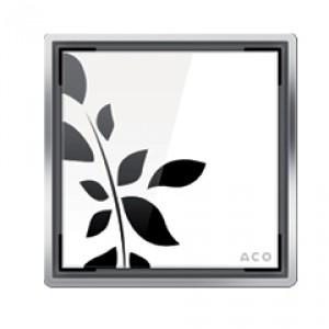 Kвадратна решетка от дизайнерско стъкло  бяло с флорални мотиви