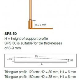 Ъглов профил SHOWERPROFILE-SPS 50 , 2.0 м.