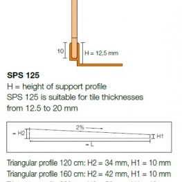 Ъглов профил SHOWERPROFILE-SPS 125 , 1.2 м.