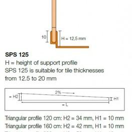 Ъглов профил SHOWERPROFILE-SPS 125 , 2.0 м.