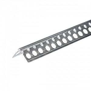 Ъгъл алуминиев за шпакловка рифелован 23 х 23 мм / 2.5 м (10020)