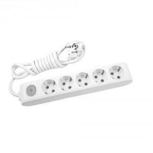 Разклонител Panasonic бял , 5 гнезда , 1.5 м кабел + ключ