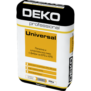 Лепилна и шпакловъчна смес с фибри за EPS и XPS DEKO professional Universal , 25 кг.