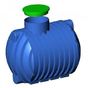 Резервоар за подземен монтаж за вода с 1 капак Хоризонтален , 2500 л.