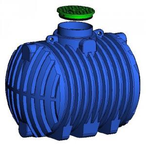 Резервоар за подземен монтаж за вода с 1 капак Хоризонтален , 3000 л.