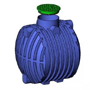 Резервоар за подземен монтаж за вода с 1 капак Хоризонтален , 3500 л.