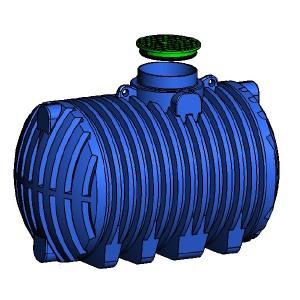 Резервоар за подземен монтаж за вода с 1 капак Хоризонтален , 7000 л.