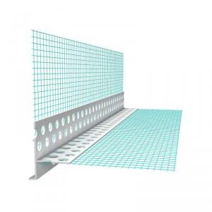 Профил PVC водооткапващ с мрежа скрит , 10х10 см , 2.5 м.