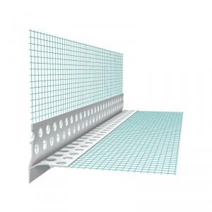 Профил PVC водооткапващ с мрежа видим , 10х10 см , 2.5 м.